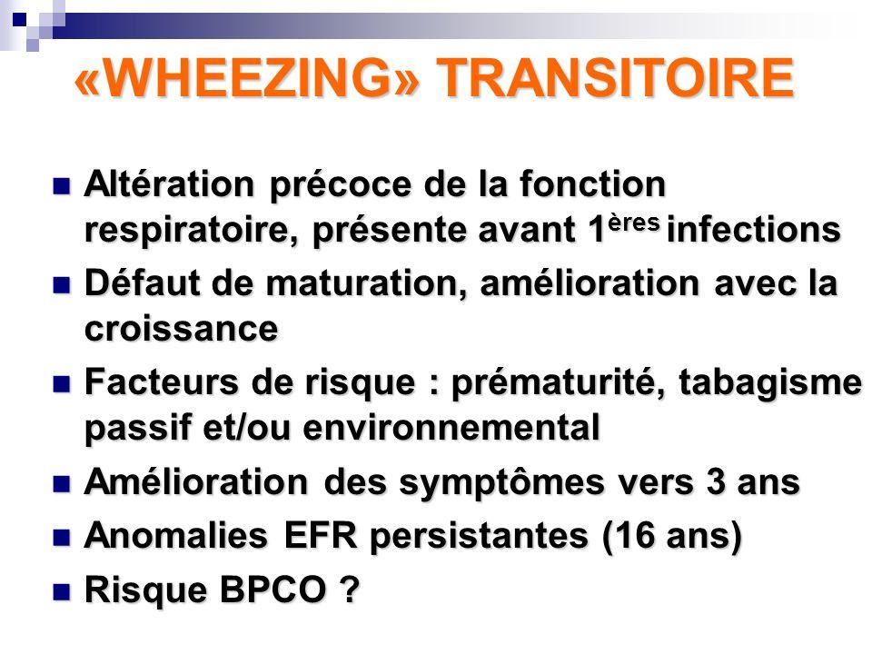 «WHEEZING» NON-ATOPIQUE Sifflement au cours des infections virales, +/- persistant Sifflement au cours des infections virales, +/- persistant Fonction respiratoire précoce normale Fonction respiratoire précoce normale Etiologie : rôle des VIRUS +++ Etiologie : rôle des VIRUS +++ Risque hyperréactivité persistante jusquà 10-12 ans Risque hyperréactivité persistante jusquà 10-12 ans Pas datopie Pas datopie