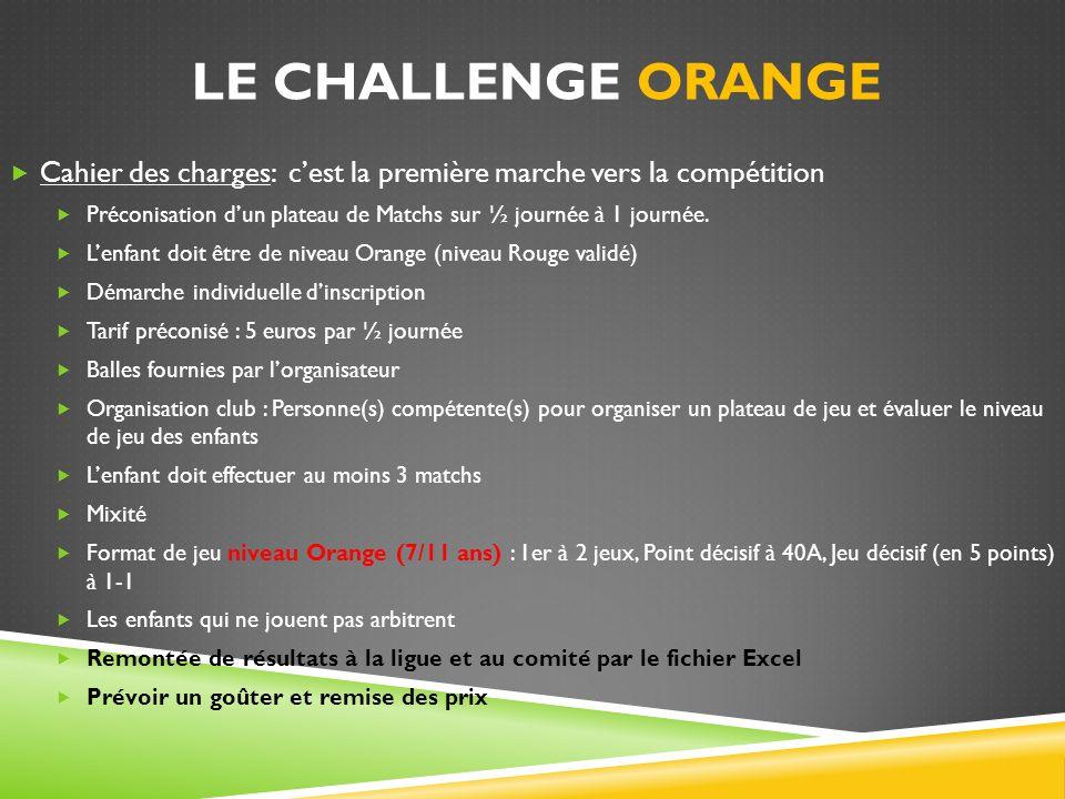LE CHALLENGE ORANGE Cahier des charges: cest la première marche vers la compétition Préconisation dun plateau de Matchs sur ½ journée à 1 journée. Len