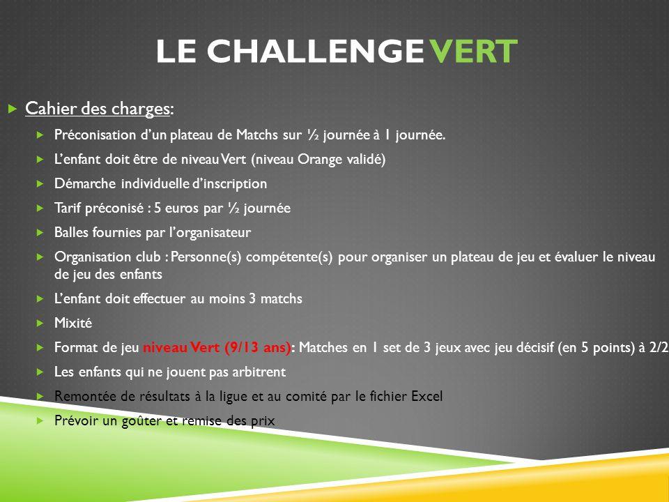 LE CHALLENGE VERT Cahier des charges: Préconisation dun plateau de Matchs sur ½ journée à 1 journée. Lenfant doit être de niveau Vert (niveau Orange v