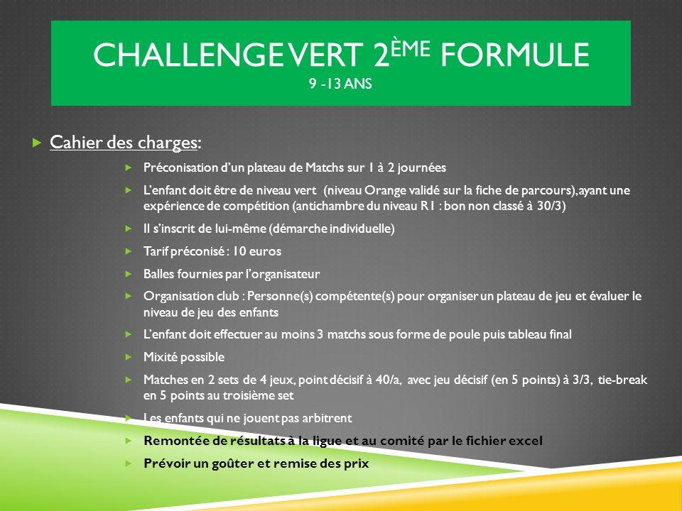 CHALLENGE VERT 2 ÈME FORMULE 9 -13 ANS Cahier des charges: Préconisation dun plateau de Matchs sur 1 à 2 journées Lenfant doit être de niveau vert (ni