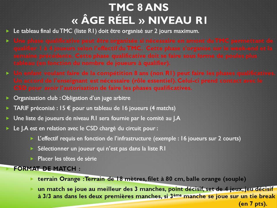 TMC 8 ANS « ÂGE RÉEL » NIVEAU R1 Le tableau final du TMC (liste R1) doit être organisé sur 2 jours maximum. Une phase qualificative peut être organisé