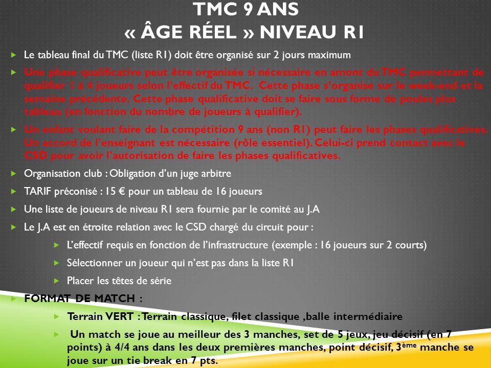 TMC 9 ANS « ÂGE RÉEL » NIVEAU R1 Le tableau final du TMC (liste R1) doit être organisé sur 2 jours maximum Une phase qualificative peut être organisée
