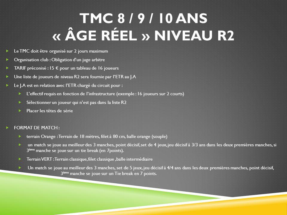 TMC 8 / 9 / 10 ANS « ÂGE RÉEL » NIVEAU R2 Le TMC doit être organisé sur 2 jours maximum Organisation club : Obligation dun juge arbitre TARIF préconisé : 15 pour un tableau de 16 joueurs Une liste de joueurs de niveau R2 sera fournie par lETR au J.A Le J.A est en relation avec lETR chargé du circuit pour : Leffectif requis en fonction de linfrastructure (exemple : 16 joueurs sur 2 courts) Sélectionner un joueur qui nest pas dans la liste R2 Placer les têtes de série FORMAT DE MATCH : terrain Orange : Terrain de 18 mètres, filet à 80 cm, balle orange (souple) un match se joue au meilleur des 3 manches, point décisif, set de 4 jeux, jeu décisif à 3/3 ans dans les deux premières manches, si 3 ème manche se joue sur un tie break (en 7points).