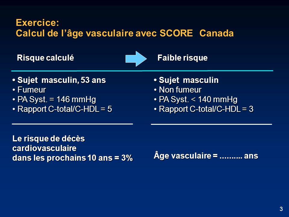 3 Exercice: Calcul de lâge vasculaire avec SCORE Canada Sujet masculin Sujet masculin Non fumeur Non fumeur PA Syst. < 140 mmHg PA Syst. < 140 mmHg Ra