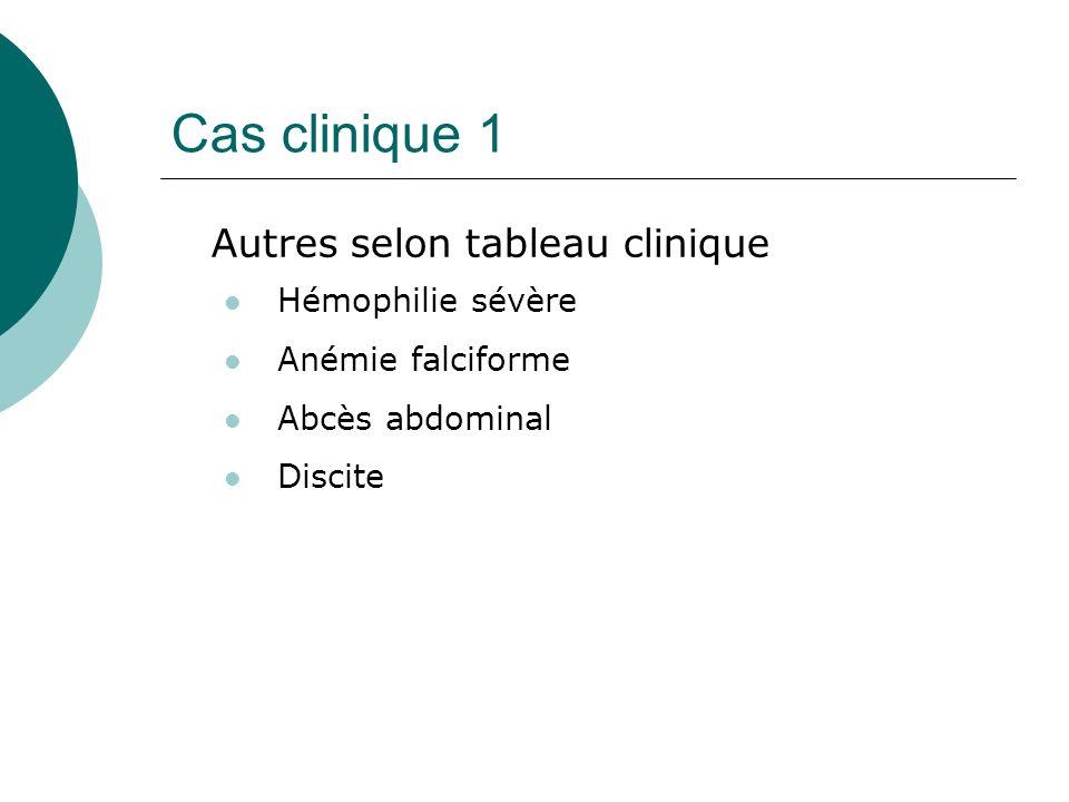 Cas clinique 1 Autres selon tableau clinique Hémophilie sévère Anémie falciforme Abcès abdominal Discite