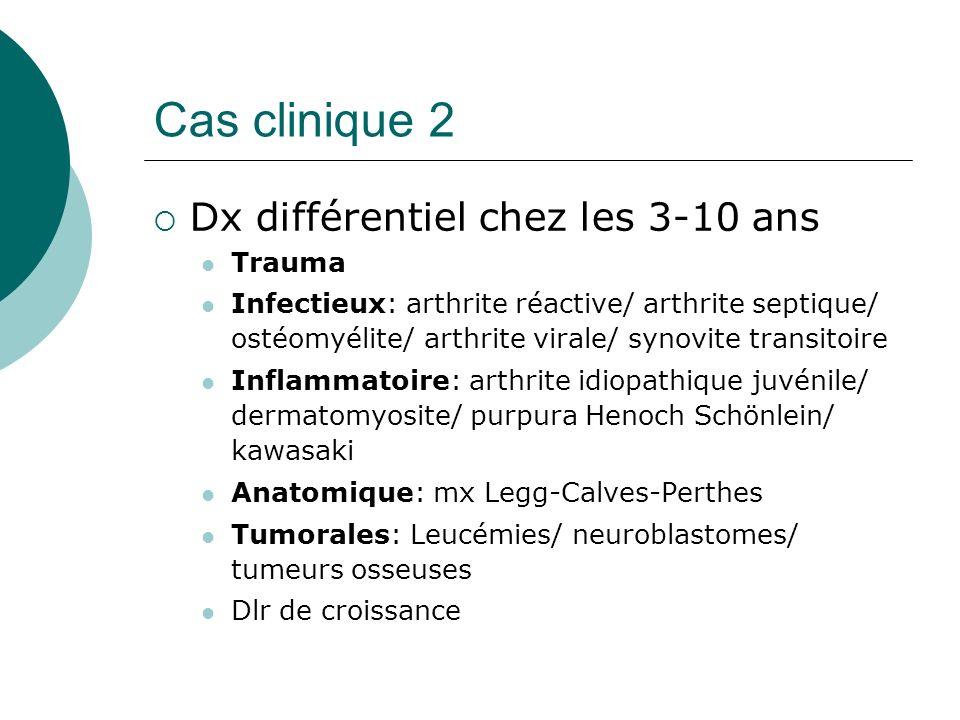 Cas clinique 2 Dx différentiel chez les 3-10 ans Trauma Infectieux: arthrite réactive/ arthrite septique/ ostéomyélite/ arthrite virale/ synovite transitoire Inflammatoire: arthrite idiopathique juvénile/ dermatomyosite/ purpura Henoch Schönlein/ kawasaki Anatomique: mx Legg-Calves-Perthes Tumorales: Leucémies/ neuroblastomes/ tumeurs osseuses Dlr de croissance