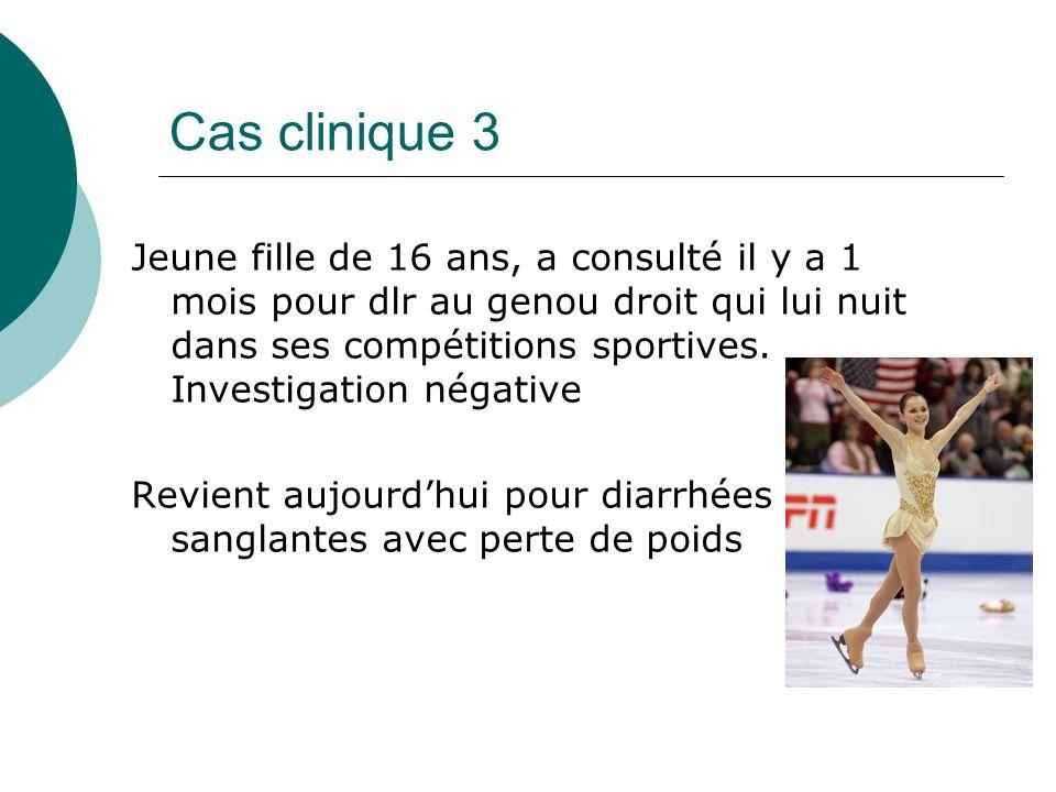 Cas clinique 3 Jeune fille de 16 ans, a consulté il y a 1 mois pour dlr au genou droit qui lui nuit dans ses compétitions sportives.