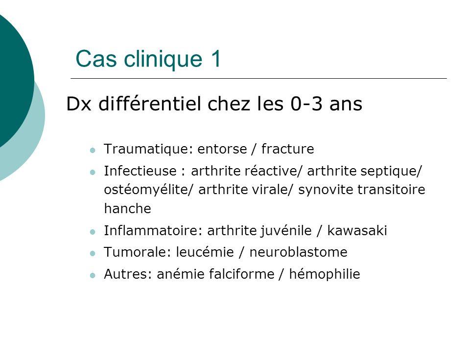 Cas clinique 1 Dx différentiel chez les 0-3 ans Traumatique: entorse / fracture Infectieuse : arthrite réactive/ arthrite septique/ ostéomyélite/ arthrite virale/ synovite transitoire hanche Inflammatoire: arthrite juvénile / kawasaki Tumorale: leucémie / neuroblastome Autres: anémie falciforme / hémophilie