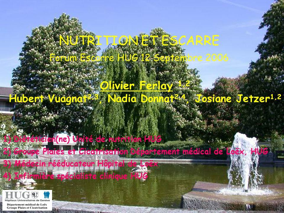 NUTRITION ET ESCARRE Forum Escarre HUG 12 Septembre 2006 Olivier Ferlay 1,2 Hubert Vuagnat 2,3, Nadia Donnat 2,4, Josiane Jetzer 1,2 1)Diététicien(ne)
