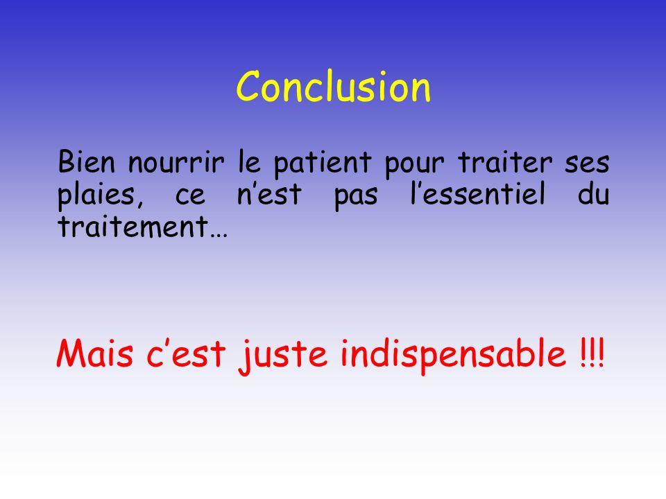 Conclusion Bien nourrir le patient pour traiter ses plaies, ce nest pas lessentiel du traitement… Mais cest juste indispensable !!!