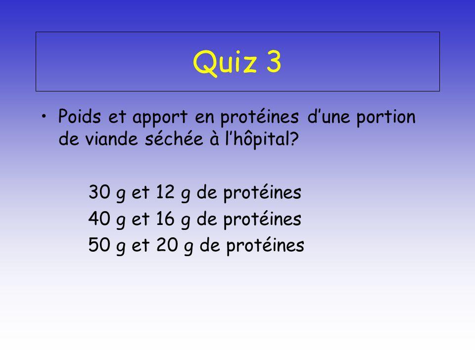 Quiz 3 Poids et apport en protéines dune portion de viande séchée à lhôpital? 30 g et 12 g de protéines 40 g et 16 g de protéines 50 g et 20 g de prot