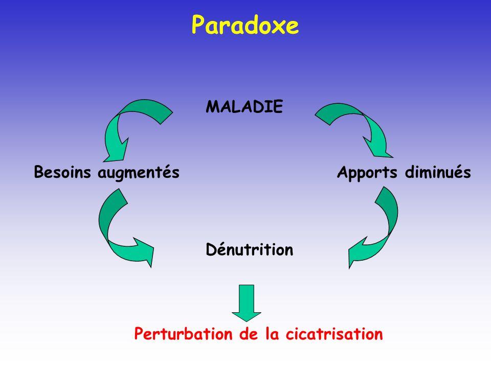 Paradoxe MALADIE Apports diminués Besoins augmentés Dénutrition Perturbation de la cicatrisation