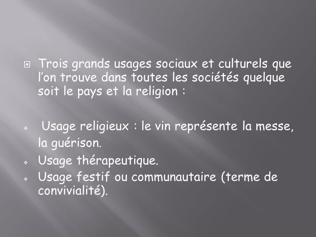 Trois grands usages sociaux et culturels que lon trouve dans toutes les sociétés quelque soit le pays et la religion : Usage religieux : le vin représ