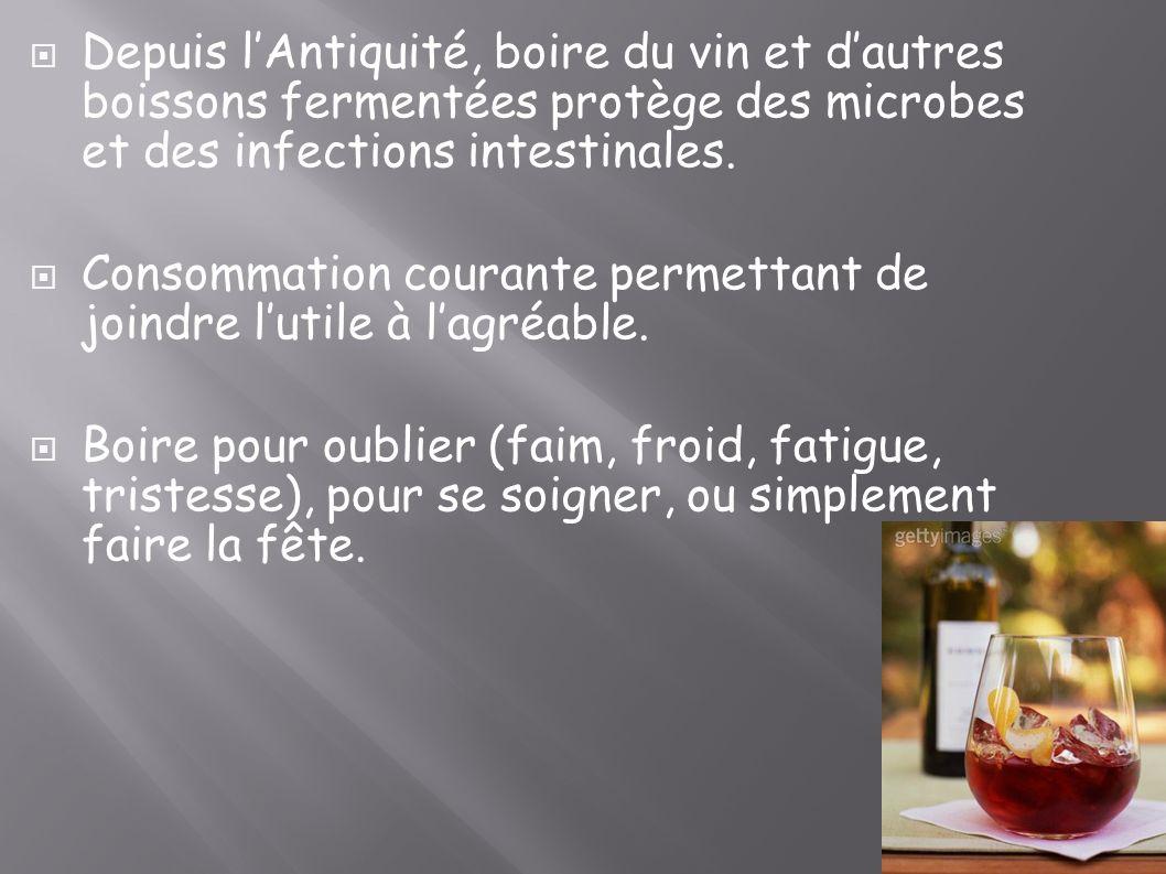 Depuis lAntiquité, boire du vin et dautres boissons fermentées protège des microbes et des infections intestinales. Consommation courante permettant d