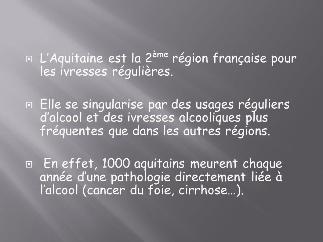 LAquitaine est la 2 ème région française pour les ivresses régulières. Elle se singularise par des usages réguliers dalcool et des ivresses alcoolique