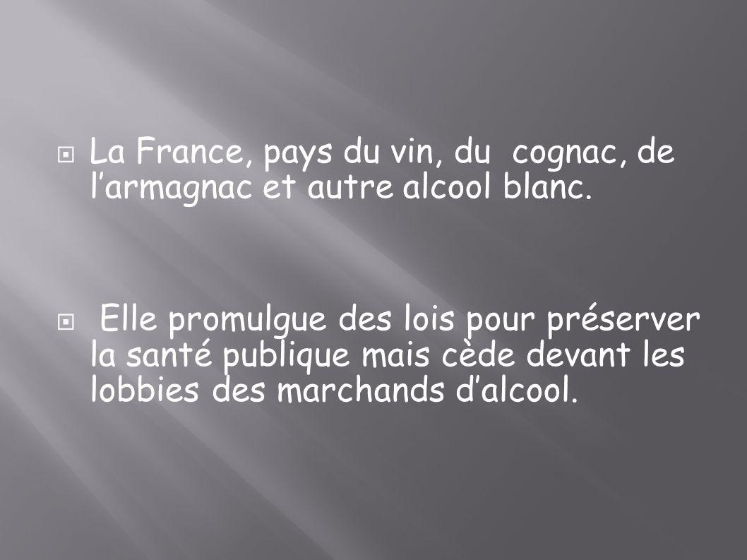 La France, pays du vin, du cognac, de larmagnac et autre alcool blanc. Elle promulgue des lois pour préserver la santé publique mais cède devant les l