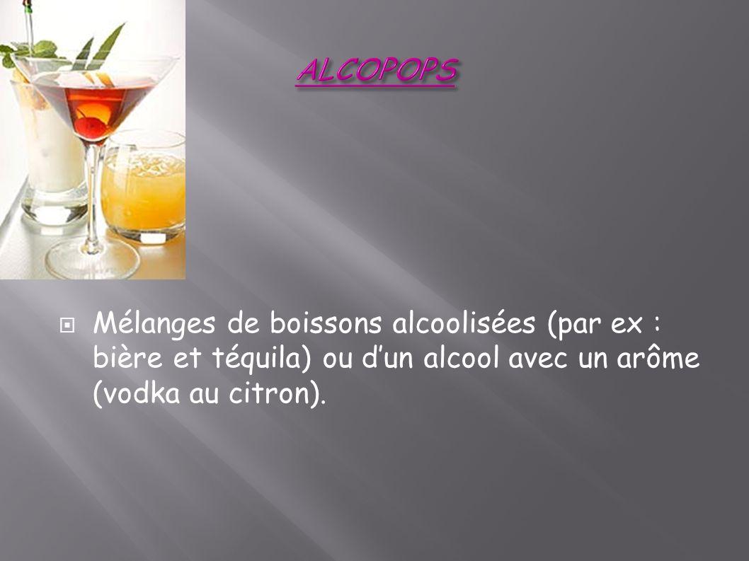 Mélanges de boissons alcoolisées (par ex : bière et téquila) ou dun alcool avec un arôme (vodka au citron).