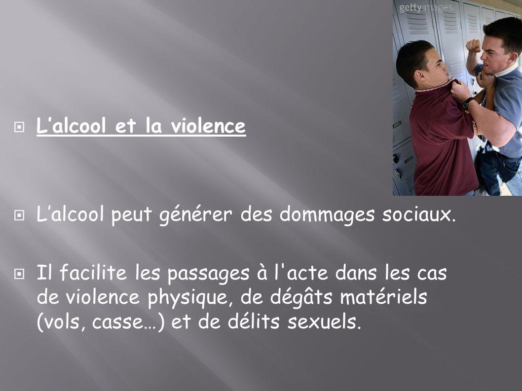 Lalcool et la violence Lalcool peut générer des dommages sociaux. Il facilite les passages à l'acte dans les cas de violence physique, de dégâts matér