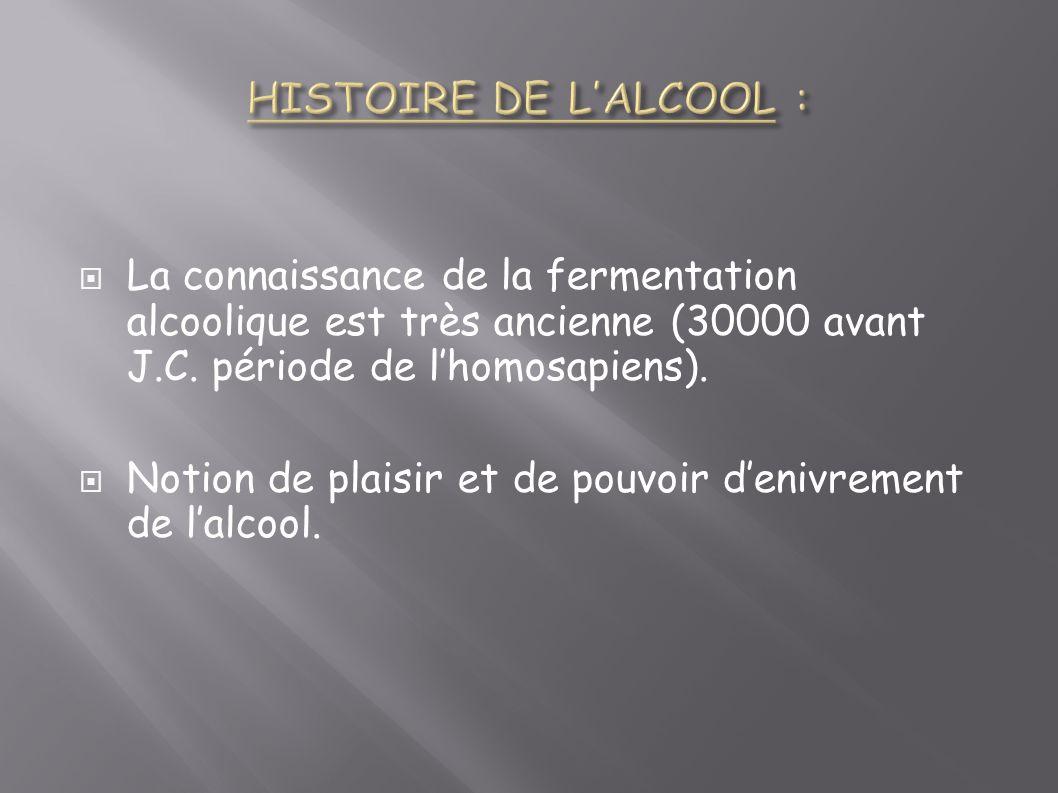 La connaissance de la fermentation alcoolique est très ancienne (30000 avant J.C. période de lhomosapiens). Notion de plaisir et de pouvoir denivremen