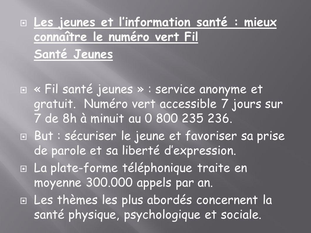 Les jeunes et linformation santé : mieux connaître le numéro vert Fil Santé Jeunes « Fil santé jeunes » : service anonyme et gratuit. Numéro vert acce
