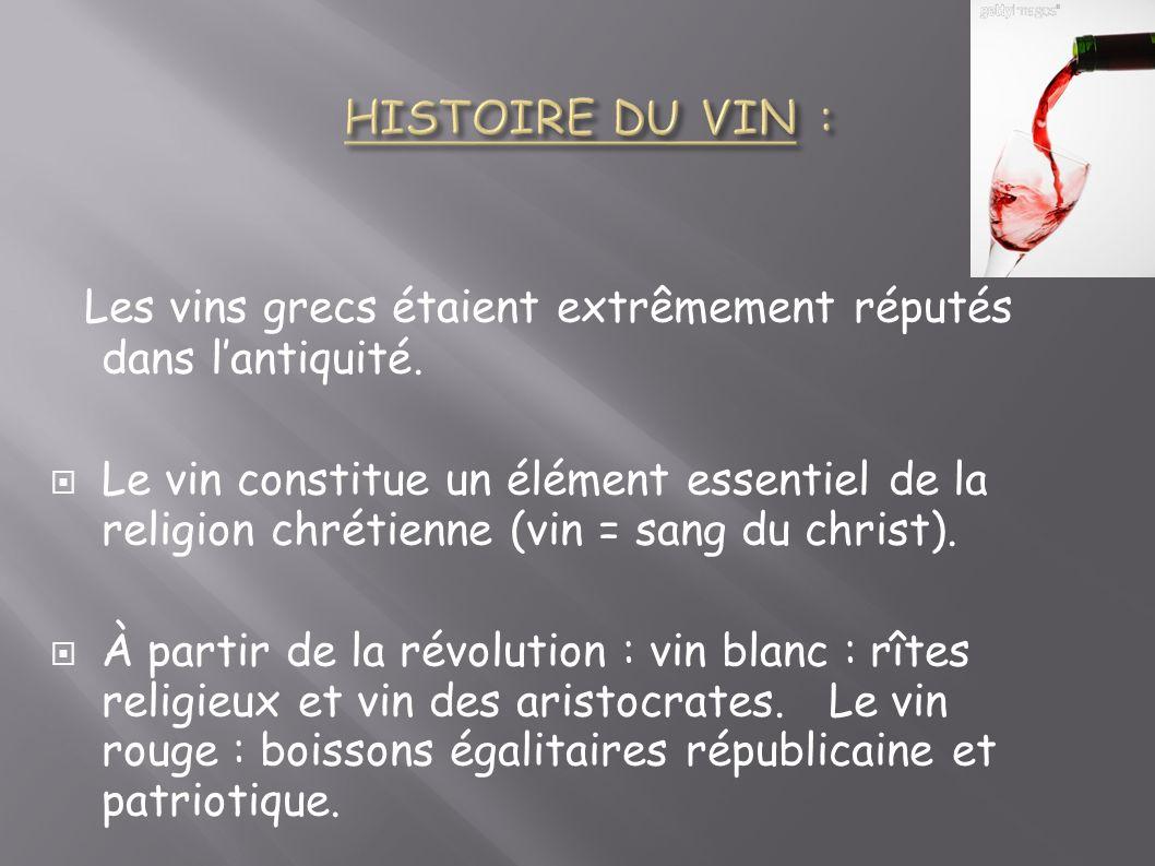 Les vins grecs étaient extrêmement réputés dans lantiquité. Le vin constitue un élément essentiel de la religion chrétienne (vin = sang du christ). À