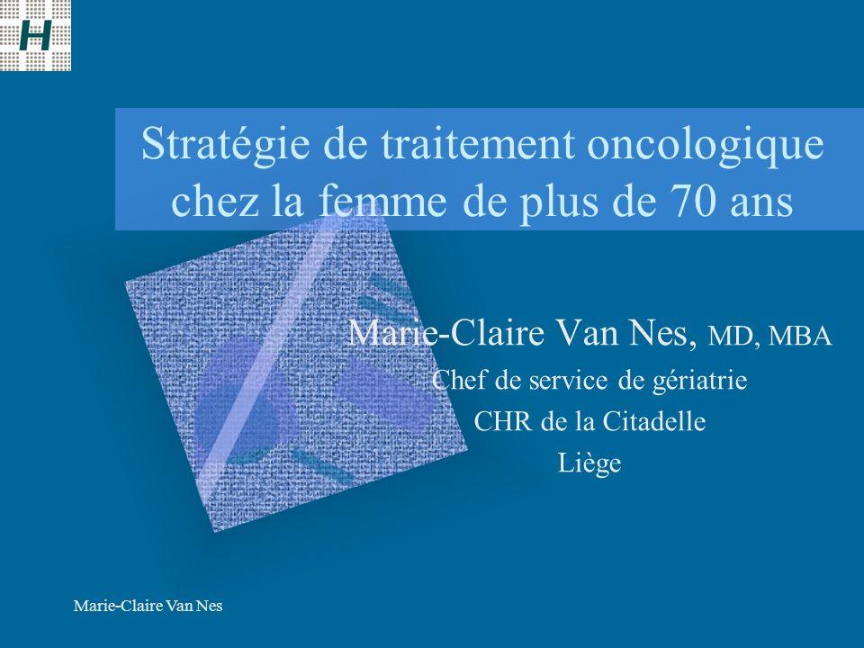 Marie-Claire Van Nes Stratégie de traitement oncologique chez la femme de plus de 70 ans Marie-Claire Van Nes, MD, MBA Chef de service de gériatrie CHR de la Citadelle Liège