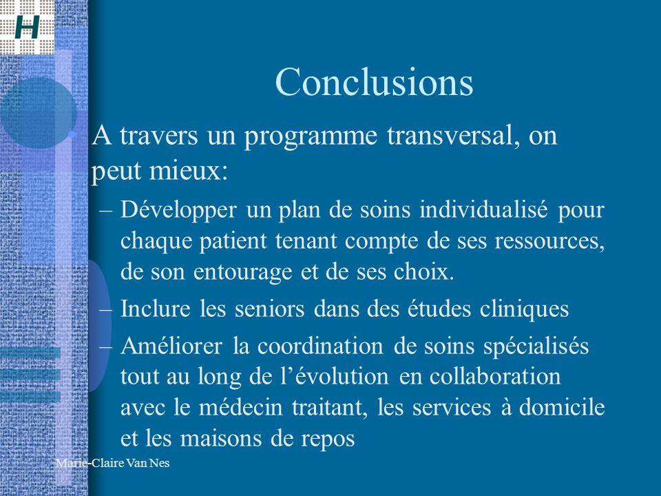 Marie-Claire Van Nes Conclusions A travers un programme transversal, on peut mieux: –Développer un plan de soins individualisé pour chaque patient tenant compte de ses ressources, de son entourage et de ses choix.