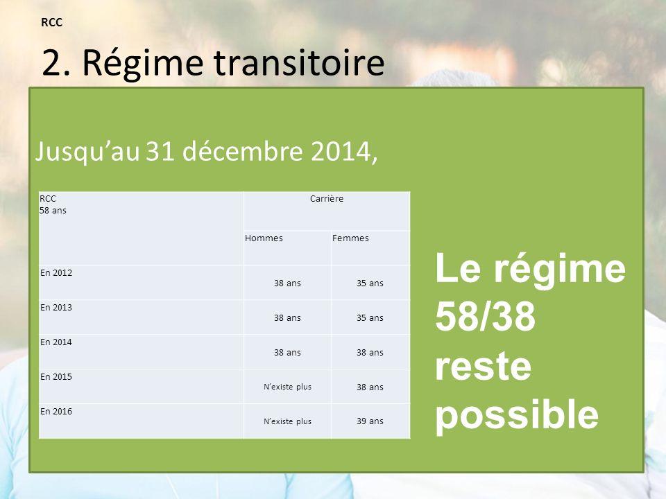 Jusquau 31 décembre 2014, RCC 58 ans Carrière HommesFemmes En 2012 38 ans35 ans En 2013 38 ans35 ans En 2014 38 ans En 2015 Nexiste plus 38 ans En 2016 Nexiste plus 39 ans Le régime 58/38 reste possible RCC 2.
