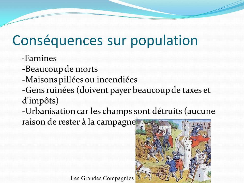 Conséquences sur population -Famines -Beaucoup de morts -Maisons pillées ou incendiées -Gens ruinées (doivent payer beaucoup de taxes et d'impôts) -Ur