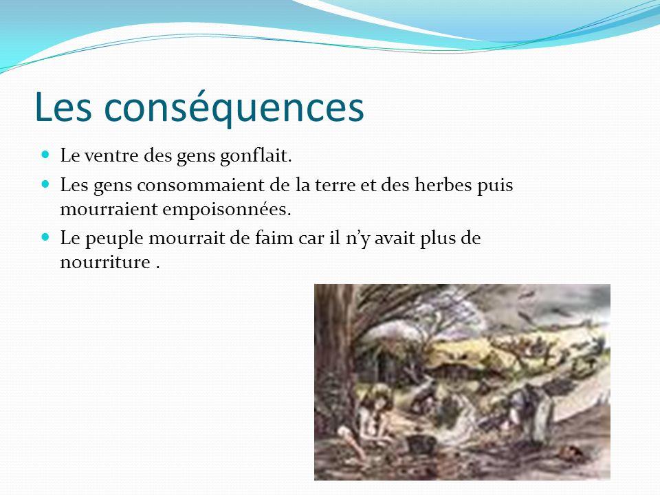 Les conséquences Le ventre des gens gonflait. Les gens consommaient de la terre et des herbes puis mourraient empoisonnées. Le peuple mourrait de faim