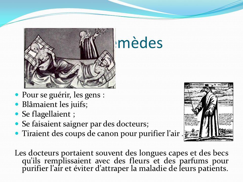 Remèdes Pour se guérir, les gens : Blâmaient les juifs; Se flagellaient ; Se faisaient saigner par des docteurs; Tiraient des coups de canon pour puri