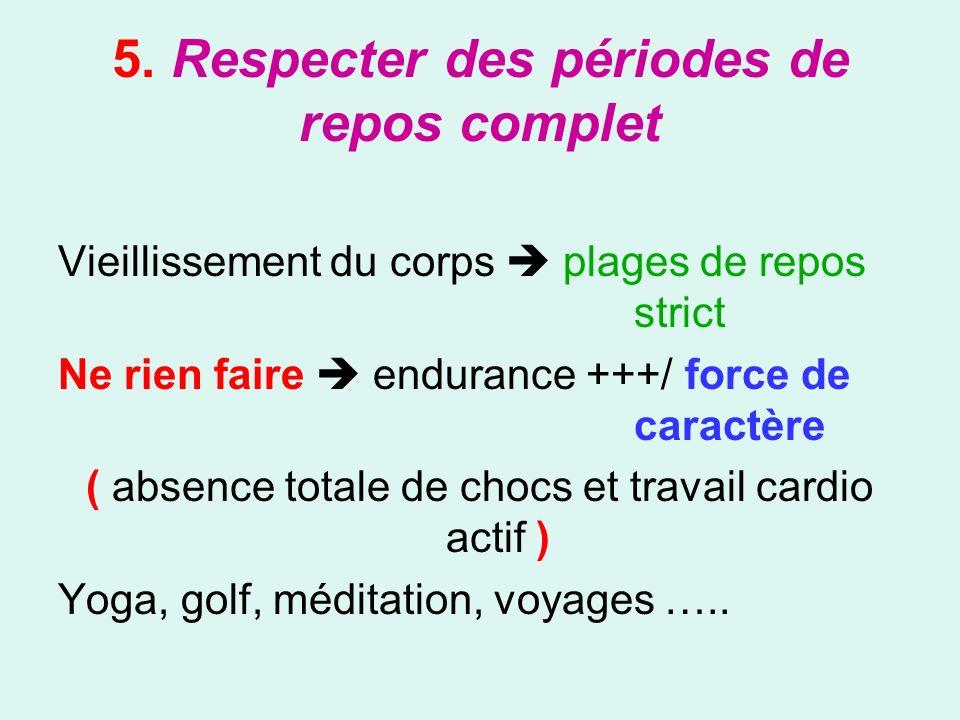 5. Respecter des périodes de repos complet Vieillissement du corps plages de repos strict Ne rien faire endurance +++/ force de caractère ( absence to