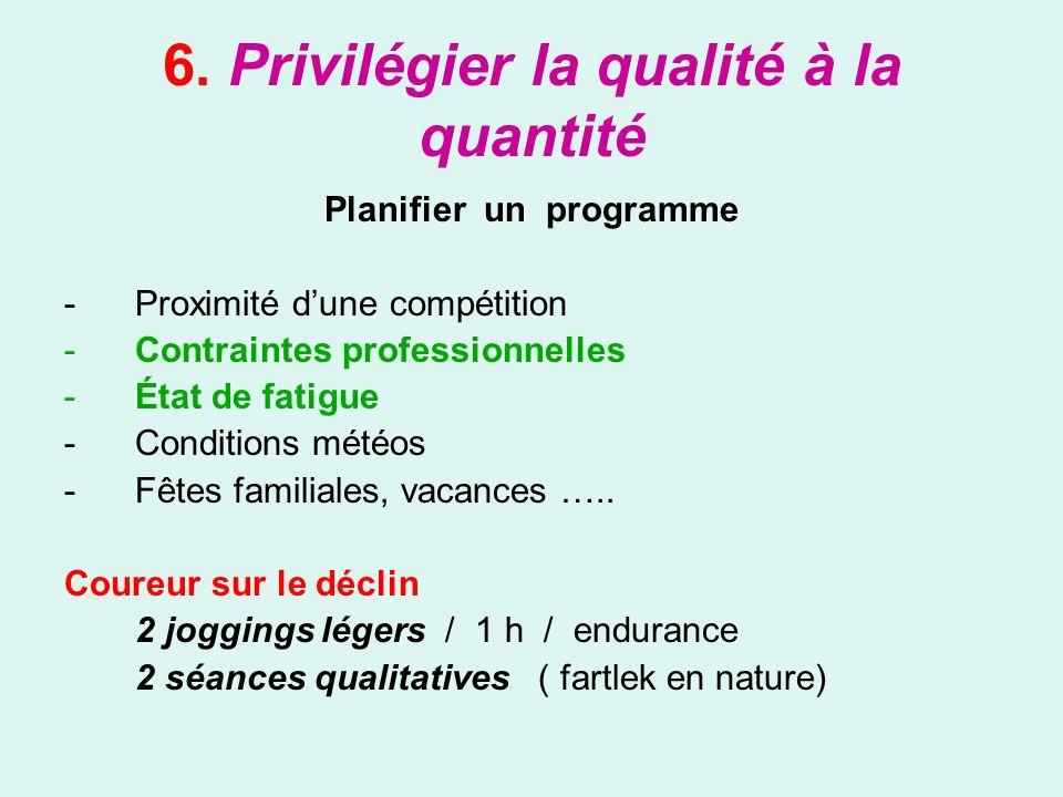 6. Privilégier la qualité à la quantité Planifier un programme -Proximité dune compétition -Contraintes professionnelles -État de fatigue -Conditions