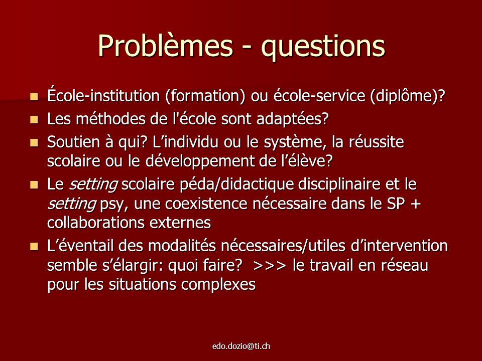 edo.dozio@ti.ch Problèmes - questions École-institution (formation) ou école-service (diplôme)? École-institution (formation) ou école-service (diplôm