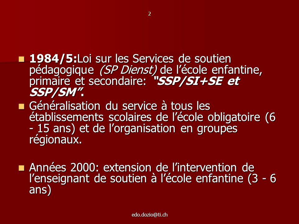 edo.dozio@ti.ch 2 1984/5:Loi sur les Services de soutien pédagogique (SP Dienst) de lécole enfantine, primaire et secondaire: SSP/SI+SE et SSP/SM. 198