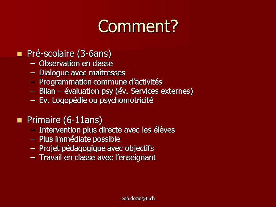 edo.dozio@ti.ch Comment? Pré-scolaire (3-6ans) Pré-scolaire (3-6ans) –Observation en classe –Dialogue avec maîtresses –Programmation commune dactivité
