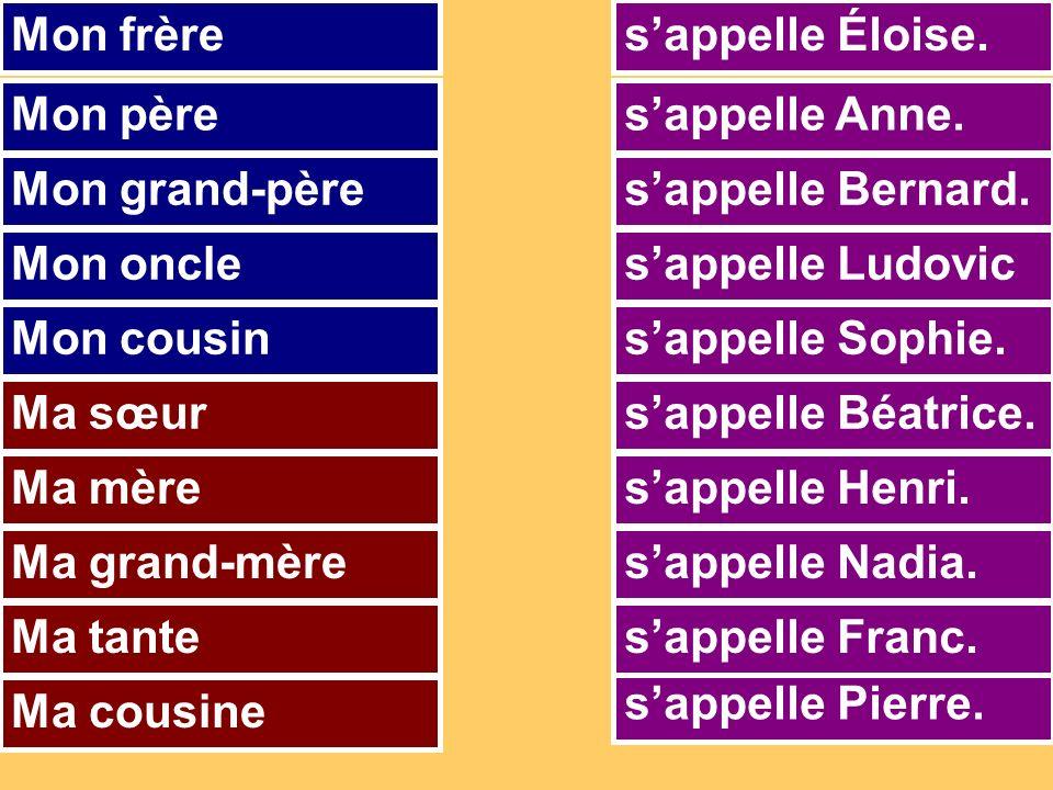 sappelle Pierre. sappelle Anne. sappelle Nadia. sappelle Ludovic sappelle Bernard.
