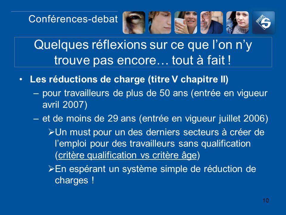 10 Les réductions de charge (titre V chapitre II) –pour travailleurs de plus de 50 ans (entrée en vigueur avril 2007) –et de moins de 29 ans (entrée e