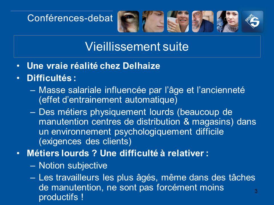 3 Une vraie réalité chez Delhaize Difficultés : –Masse salariale influencée par lâge et lancienneté (effet dentrainement automatique) –Des métiers phy