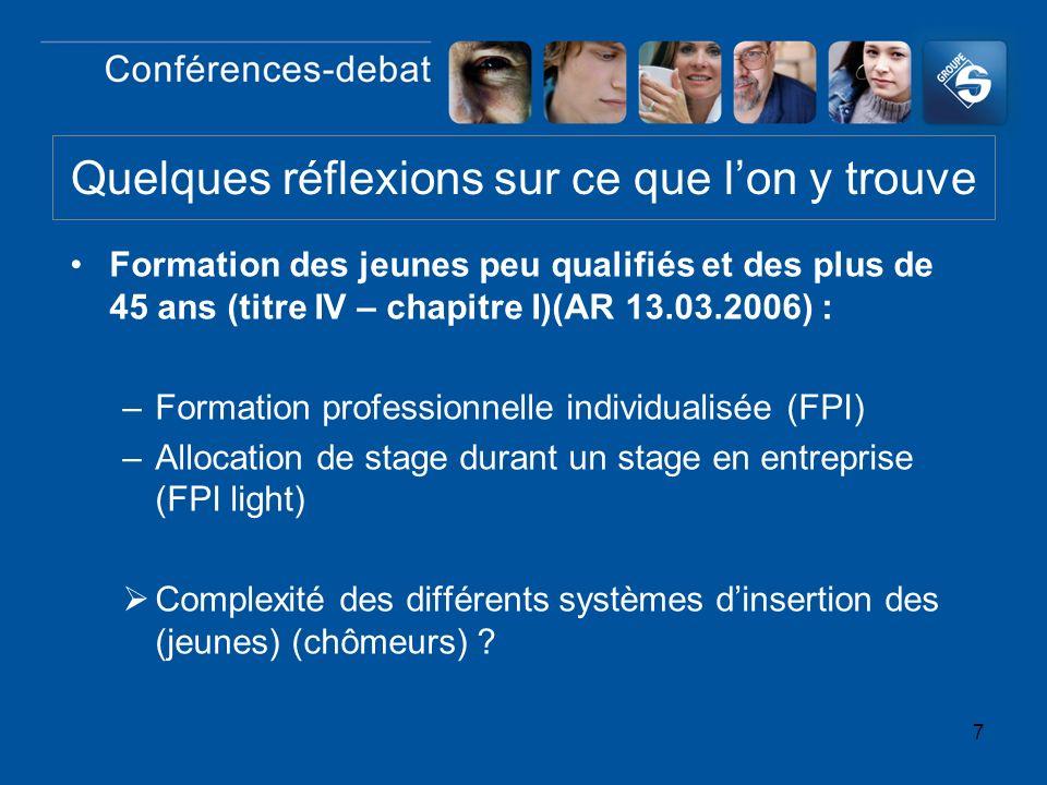 7 Formation des jeunes peu qualifiés et des plus de 45 ans (titre IV – chapitre I)(AR 13.03.2006) : –Formation professionnelle individualisée (FPI) –A