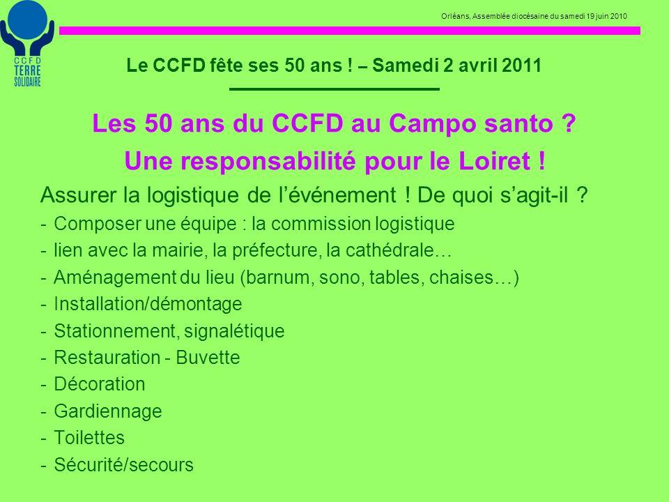 Orléans, Assemblée diocésaine du samedi 19 juin 2010 Le CCFD fête ses 50 ans ! – Samedi 2 avril 2011 Les 50 ans du CCFD au Campo santo ? Une responsab