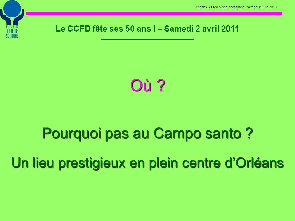 Orléans, Assemblée diocésaine du samedi 19 juin 2010 Le CCFD fête ses 50 ans ! – Samedi 2 avril 2011 Où ? Pourquoi pas au Campo santo ? Un lieu presti