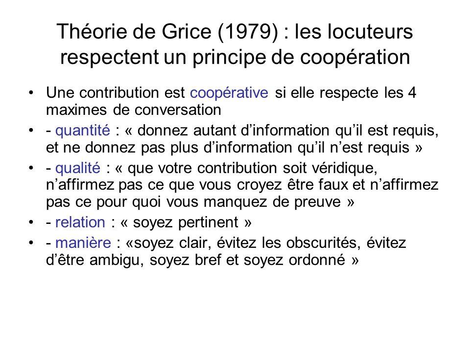 Théorie de Grice (1979) : les locuteurs respectent un principe de coopération Une contribution est coopérative si elle respecte les 4 maximes de conve