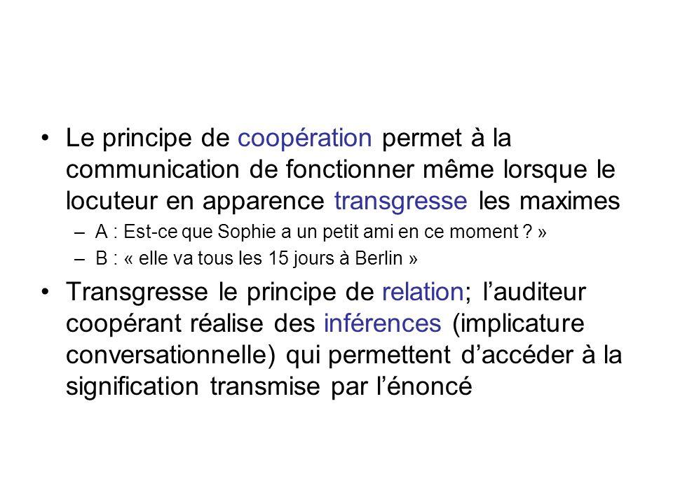 Le principe de coopération permet à la communication de fonctionner même lorsque le locuteur en apparence transgresse les maximes –A : Est-ce que Soph
