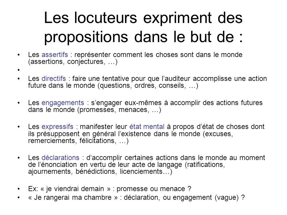 Les locuteurs expriment des propositions dans le but de : Les assertifs : représenter comment les choses sont dans le monde (assertions, conjectures,