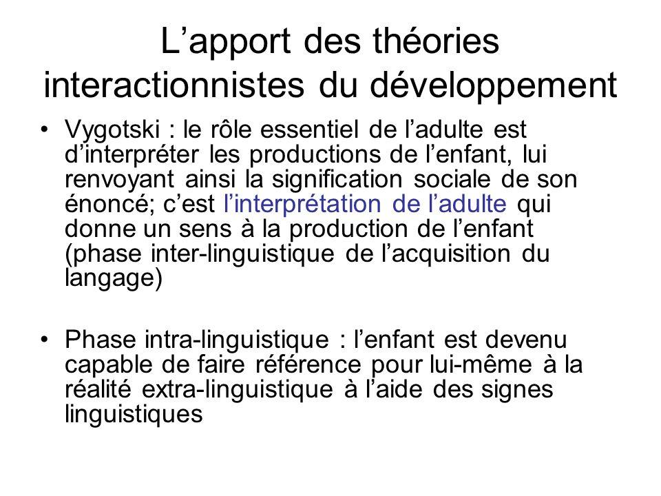 Lapport des théories interactionnistes du développement Vygotski : le rôle essentiel de ladulte est dinterpréter les productions de lenfant, lui renvo