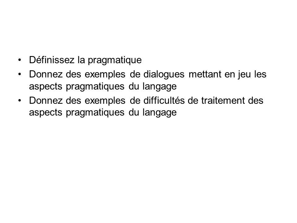 Définissez la pragmatique Donnez des exemples de dialogues mettant en jeu les aspects pragmatiques du langage Donnez des exemples de difficultés de tr