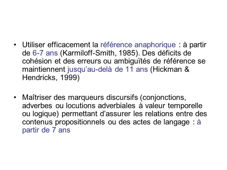 Utiliser efficacement la référence anaphorique : à partir de 6-7 ans (Karmiloff-Smith, 1985). Des déficits de cohésion et des erreurs ou ambiguïtés de
