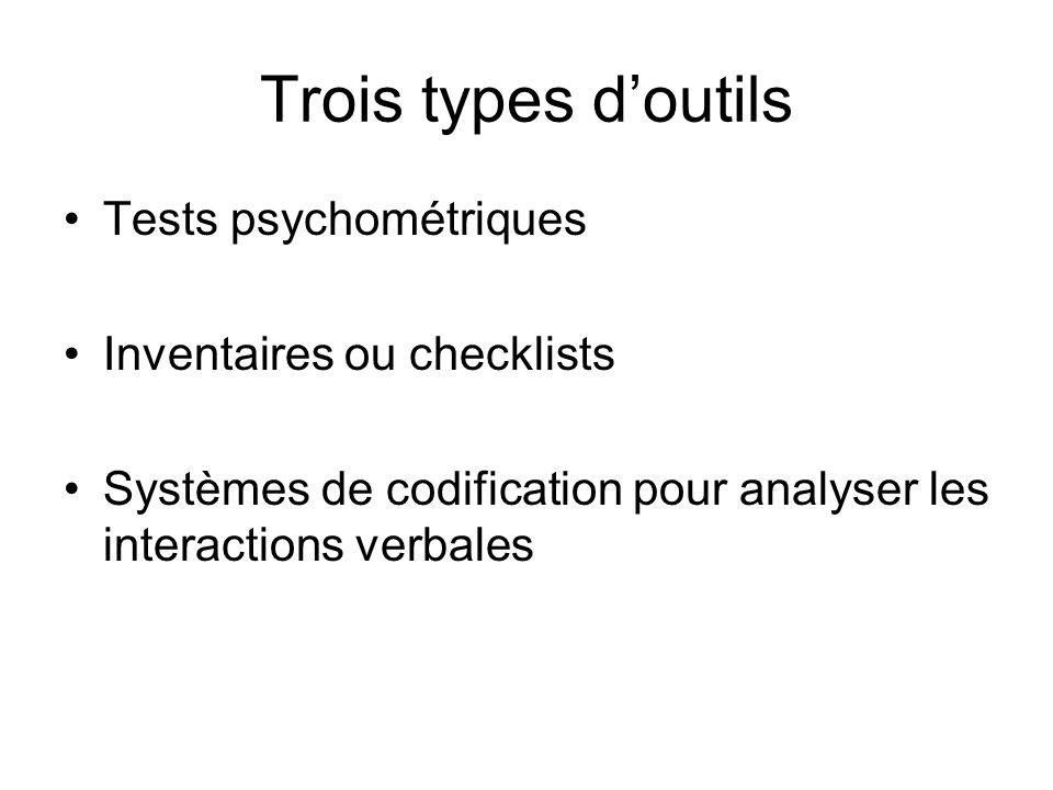 Trois types doutils Tests psychométriques Inventaires ou checklists Systèmes de codification pour analyser les interactions verbales