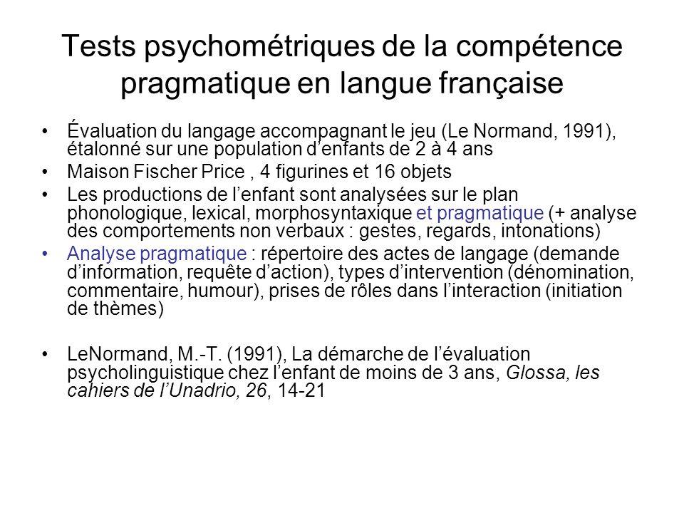Tests psychométriques de la compétence pragmatique en langue française Évaluation du langage accompagnant le jeu (Le Normand, 1991), étalonné sur une